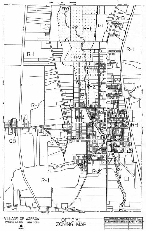 warsaw zoning map